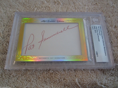 Pat Summerall 2014 Leaf Masterpiece Cut Signature certified autograph card 1/1