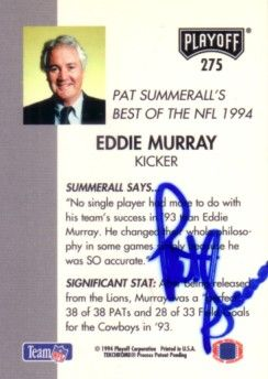 Pat Summerall autographed 1994 Playoff football card