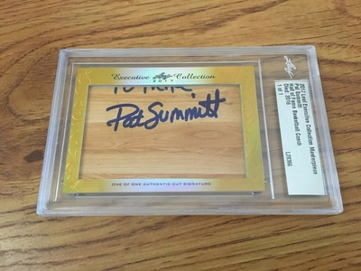 Pat Summitt 2017 Leaf Masterpiece Cut Signature certified autograph card 1/1 JSA