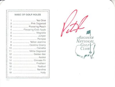 Patrick Reed autographed Augusta National Masters scorecard
