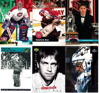 Patrick Roy 6 card lot (1991-92 Pro Set, 1993 Classic, 1992 and 1995 Stadium Club Members Only)