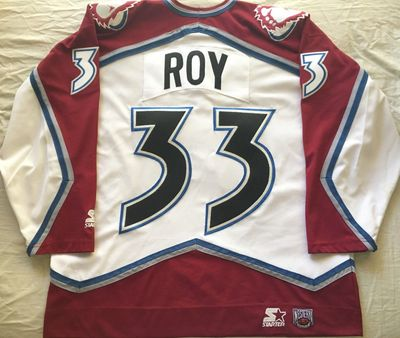 Patrick Roy Colorado Avalanche late 1990s authentic Starter triple stitched white jersey LIKE NEW