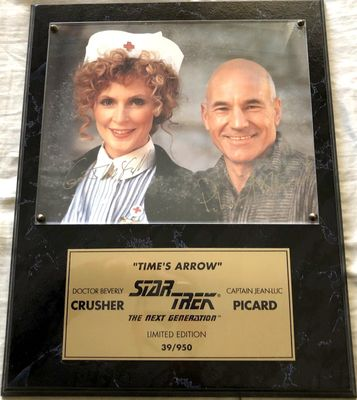 Patrick Stewart and Gates McFadden autographed Star Trek The Next Generation 8x10 photo in plaque #39/950