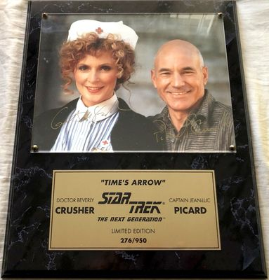 Patrick Stewart and Gates McFadden autographed Star Trek The Next Generation 8x10 photo in plaque #276/950