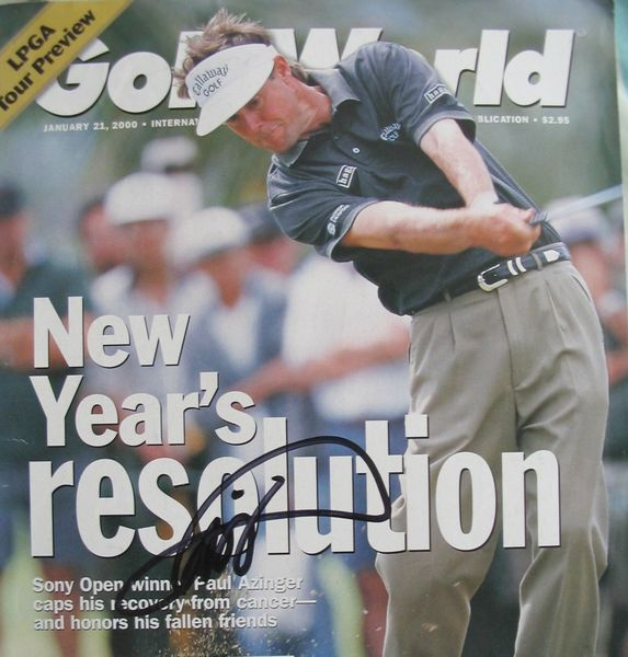 Paul Azinger autographed Golf World magazine cover