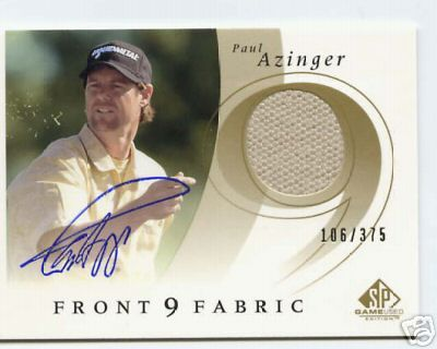 Paul Azinger certified autograph 2002 SP Game Used tournament worn shirt card