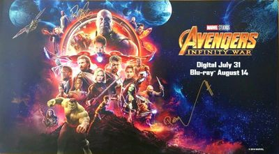 Paul Bettany and Pom Klementieff autographed 2018 Avengers Infinity War movie poster