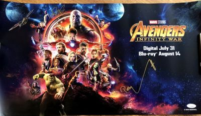 Paul Bettany and Pom Klementieff autographed 2018 Avengers Infinity War movie poster (JSA)