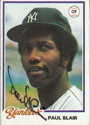 Paul Blair autographed New York Yankees 1978 Topps card