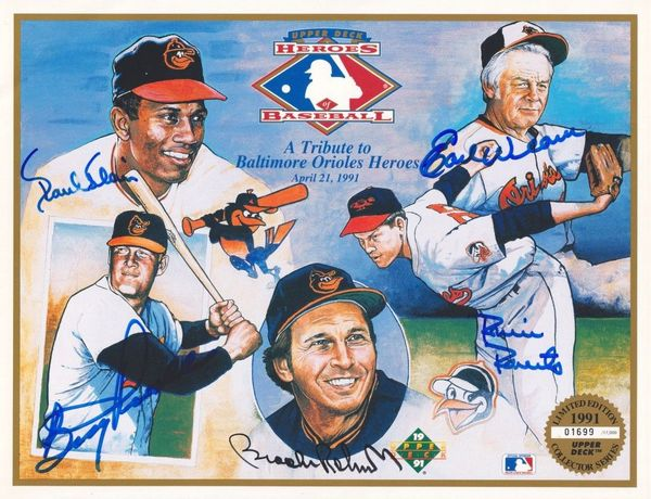 Paul Blair Boog Powell Robin Roberts Brooks Robinson Earl Weaver autographed Baltimore Orioles 1991 Upper Deck card sheet