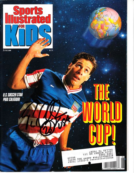 Paul Caligiuri autographed US Soccer 1990 Sports Illustrated for Kids magazine inscribed USA