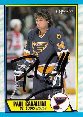 Paul Cavallini autographed St. Louis Blues 1989-90 O-Pee-Chee card
