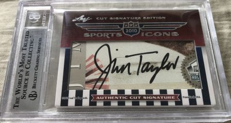 Paul Hornung and Jim Taylor 2010 Leaf Sports Icons Cut Signature certified autograph card 1/1
