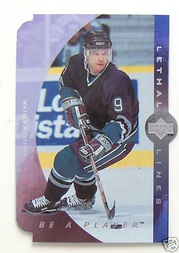 Paul Kariya Ducks 1995-96 Upper Deck Be A Player Lethal Lines insert card