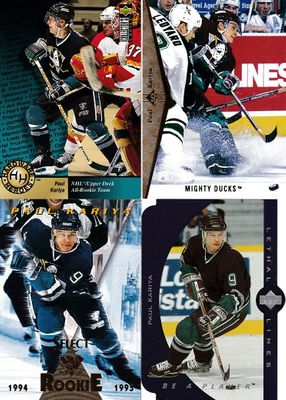Paul Kariya 1994-95 Finest, Select and SP 2nd year cards plus 1995-96 Collector's Choice and UD Lethal Lines insert