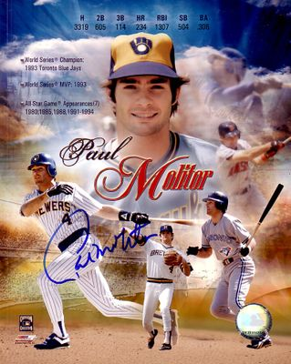 Paul Molitor autographed 8x10 career montage photo