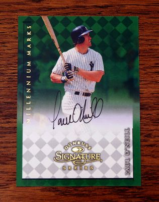 Paul O'Neill New York Yankees certified autograph 1998 Donruss Millenium Marks card #118/1000