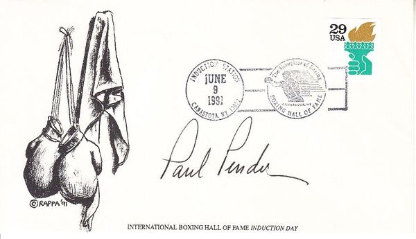 Paul Pender autographed Boxing Hall of Fame 1991 cachet envelope