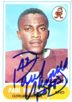 Paul Warfield autographed Cleveland Browns 1968 Topps card inscribed HOF 83