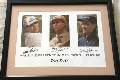 Payne Stewart Lee Trevino Chris Johnson autographed Top-Flite 1997 1998 golf poster matted and framed