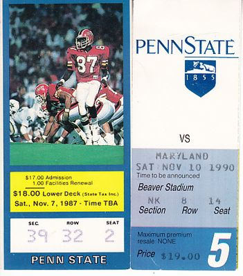 Penn State Nittany Lions vs. Maryland Terrapins 1987 and 1990 football ticket stubs (Joe Paterno)