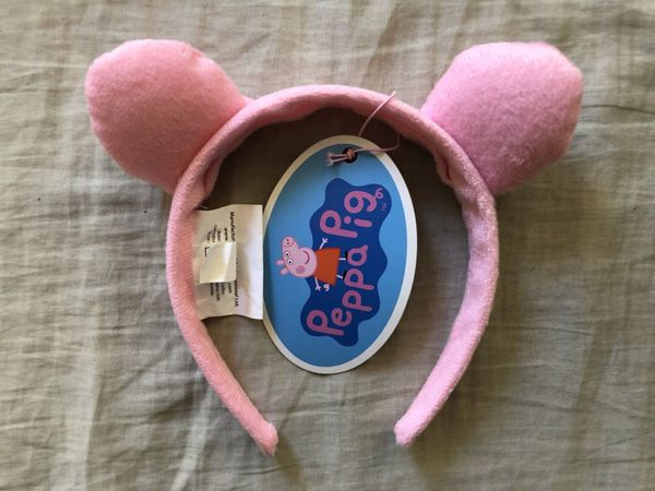 Peppa Pig pink plush girls headband with puffy ears NEW WITH TAGS