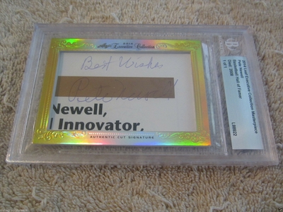 Pete Newell 2014 Leaf Masterpiece Cut Signature certified autograph card 1/1