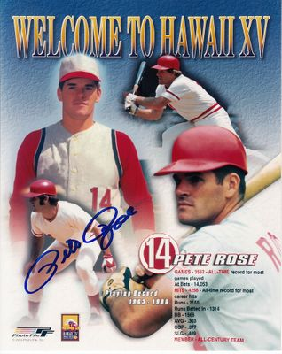 Pete Rose autographed Cincinnati Reds 8x10 montage photo