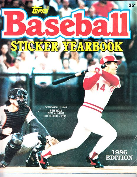 Pete Rose Hit Record 1986 Topps sticker album (near complete missing 7 stickers)