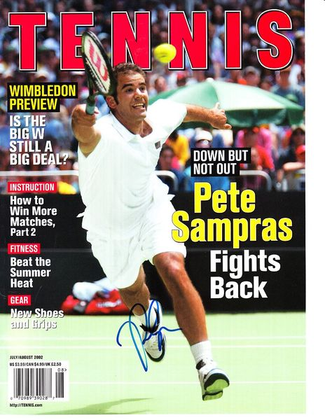 Pete Sampras autographed 2002 Tennis magazine cover