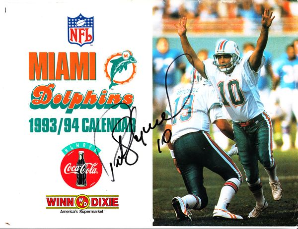 Pete Stoyanovich autographed Miami Dolphins 1993-1994 calendar cover