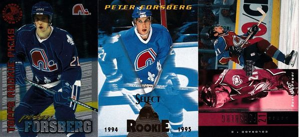 Peter Forsberg card lot 1994-95 Select 1995 Stadium Club Members Only and 1999-00 Upper Deck Powerdeck AUX7