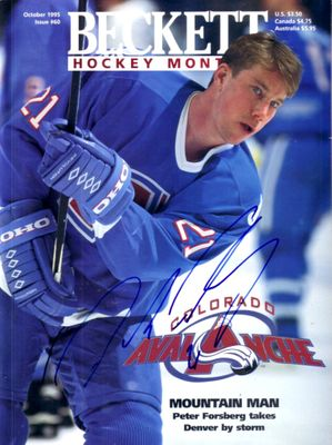 Peter Forsberg autographed Colorado Avalanche 1995 Beckett Hockey magazine