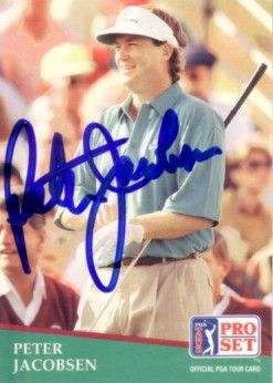 Peter Jacobsen autographed 1991 Pro Set golf card