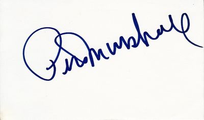 Peter Marshall autographed index card