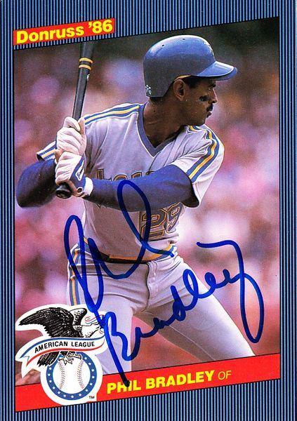 Phil Bradley autographed Seattle Mariners 1986 Donruss All-Star jumbo card