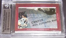 Phil Esposito & Tony Esposito certified autograph 2012 Leaf Executive Masterpiece Dual Cut Signature card #1/1