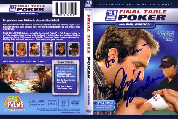 Phil Gordon autographed Final Table Poker DVD cover insert