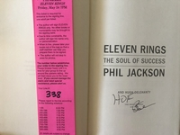 Phil Jackson autographed Eleven Rings first edition hardcover book inscribed HOF with signing ticket