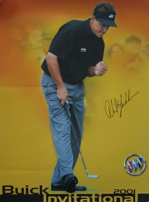 Phil Mickelson autographed 2001 Buick Invitational PGA Tour golf poster
