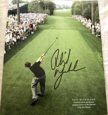 Phil Mickelson autographed 2004 Masters 10x12 inch golf book photo