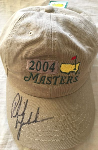 Phil Mickelson autographed 2004 Masters beige golf cap or hat