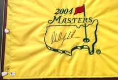 Phil Mickelson autographed 2004 Masters flag matted and framed