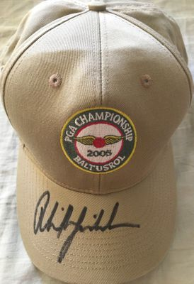 Phil Mickelson autographed 2005 PGA Championship beige golf cap or hat