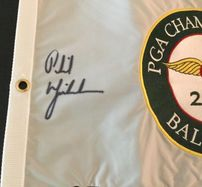 Phil Mickelson autographed 2005 PGA Championship embroidered golf pin flag