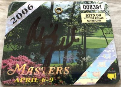Phil Mickelson autographed 2006 Masters golf badge