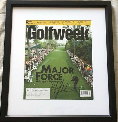 Phil Mickelson autographed 2006 Masters Golfweek magazine cover matted and framed