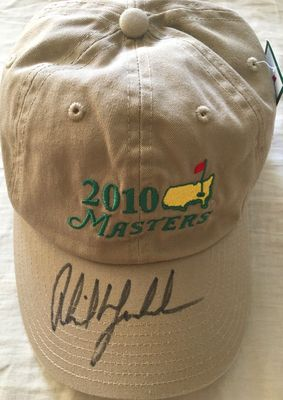 Phil Mickelson autographed 2010 Masters beige golf cap or hat