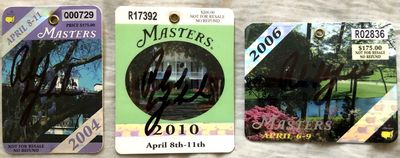 Phil Mickelson autographed 2004 2006 2010 set of 3 Masters golf badges (JSA)
