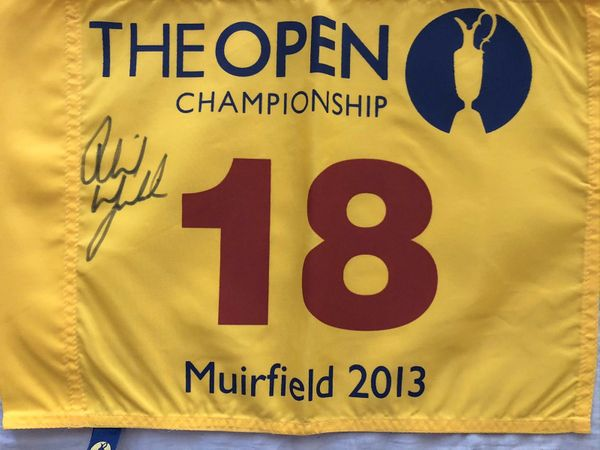 Phil Mickelson autographed 2013 British Open golf pin flag